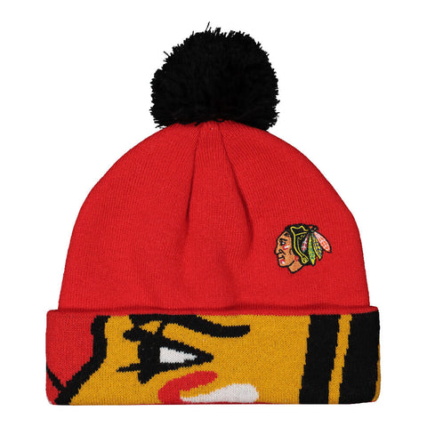 REEBOK YOUTH CHICAGO BLACKHAWKS FAN JACQUARD CUFF POM HAT