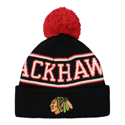 REEBOK YOUTH CHICAGO BLACKHAWKS FAN BLOCK CUFF POM HAT