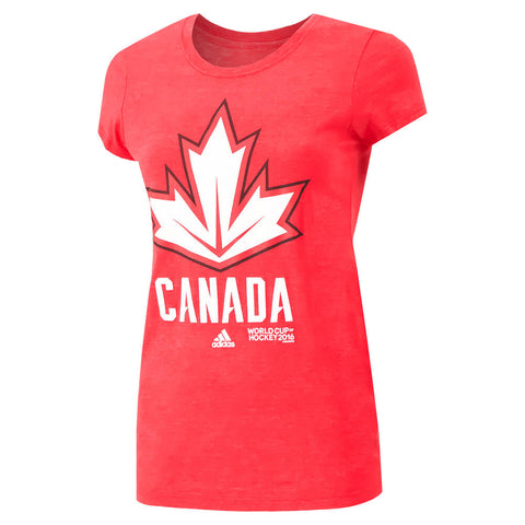 ADIDAS WOMEN'S TEAM CANADA JERSEY HOOK SHORT SLEEVE TOP RED
