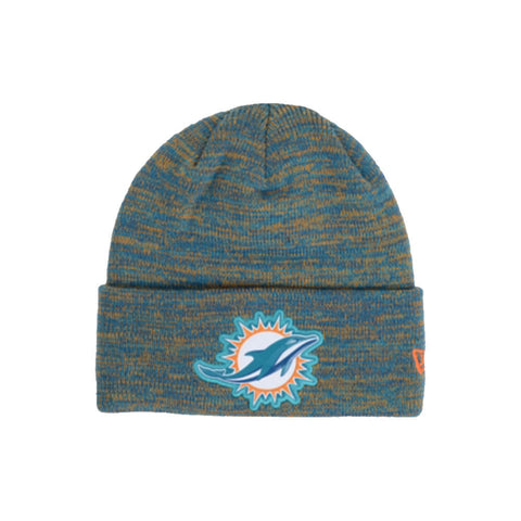 NEW ERA MEN'S MIAMI DOLPHINS BEVEL TEAM KNIT BEANIE