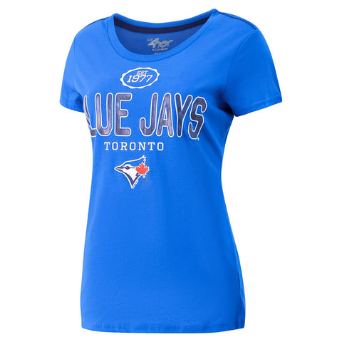 GIII 4HER WOMEN'S TORONTO BLUE JAYS ROUND THE BASES SHORT SLEEVE TOP