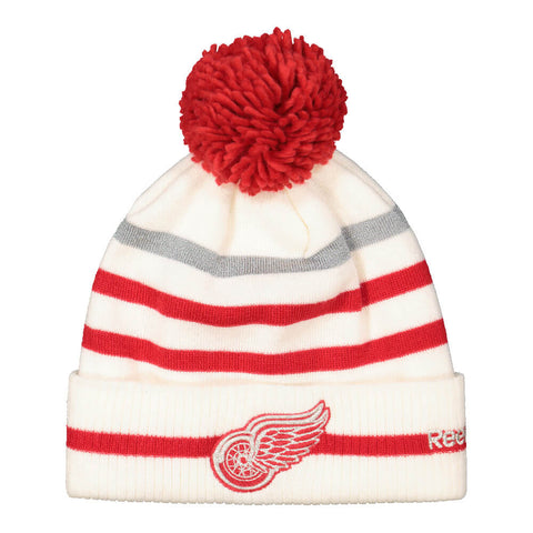 REEBOK MEN'S DETROIT RED WINGS CENTENNIAL CUFFED POM KNIT HAT