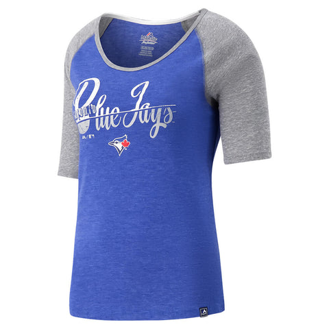 MAJESTIC GIRLS TORONTO BLUE JAYS VINTAGE GIRL RAGLAN SHORT SLEEVE TOP