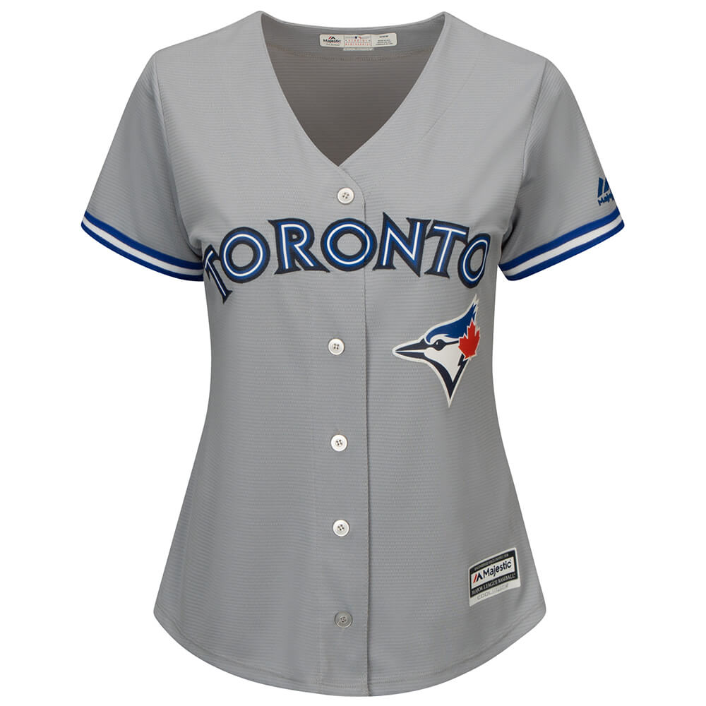 sports shoes ab282 ae728 MAJESTIC WOMEN'S TORONTO BLUE JAYS COOLBASE REPLICA ROAD JERSEY GREY
