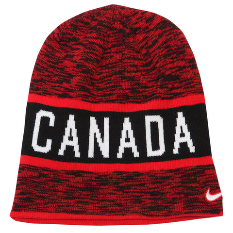 NIKE MEN'S TEAM CANADA HEATHER REVERSIBLE BEANIE RED
