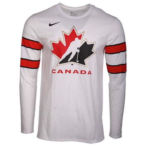 7acd2c95 NIKE MEN'S TEAM CANADA COTTON LONG SLEEVE REPLICA JERSEY TOP WHITE/BLACK