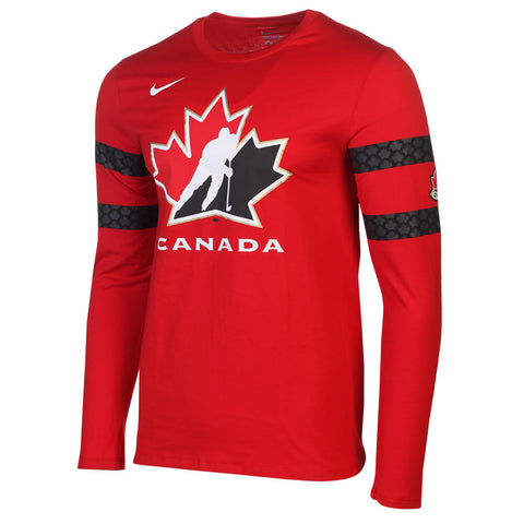 NIKE MEN'S TEAM CANADA COTTON LONG SLEEVE REPLICA TOP RED/WHITE
