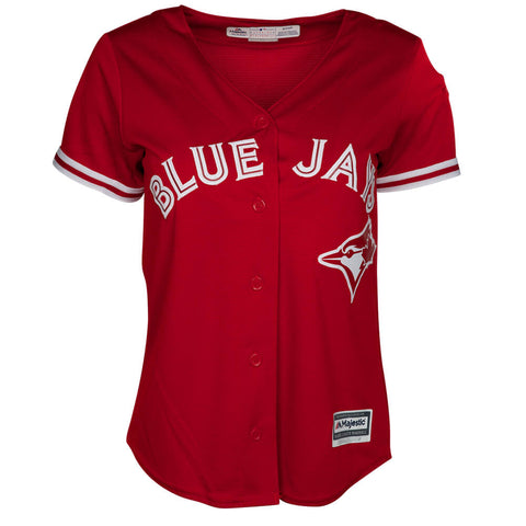 MAJESTIC WOMEN'S TORONTO BLUE  JAYS SCARLET COOLBASE JERSEY WITH PATCH