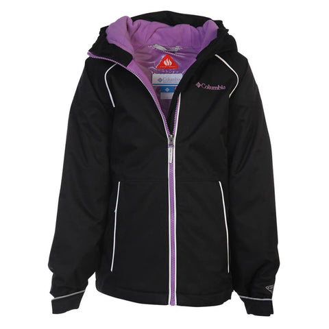 COLUMBIA GIRLS' ALPINE ACTION INSULATED JACKET BLACK/ PURPLE