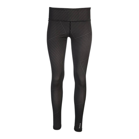 REEBOK WOMEN'S CROSSWALK LINES LEGGINGS BLACK