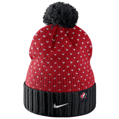 NIKE WOMEN'S TEAM CANADA POM BEANIE RED