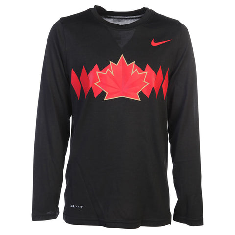 NIKE YOUTH TEAM CANADA LEGEND LONG SLEEVE TOP BLACK
