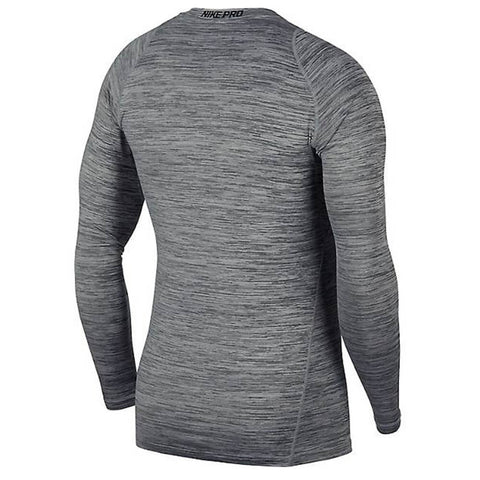 NIKE MEN'S PRO FITTED HEATHER LONG SLEEVE TOP BLACK