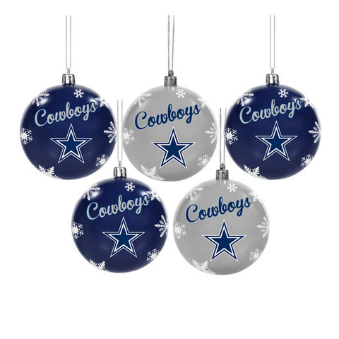 FOREVER COLLECTIBLES 5 PACK BALL ORNAMENT SET COWBOYS