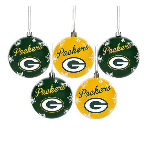 FOREVER COLLECTIBLES 5 PACK BALL ORNAMENT SET PACKERS