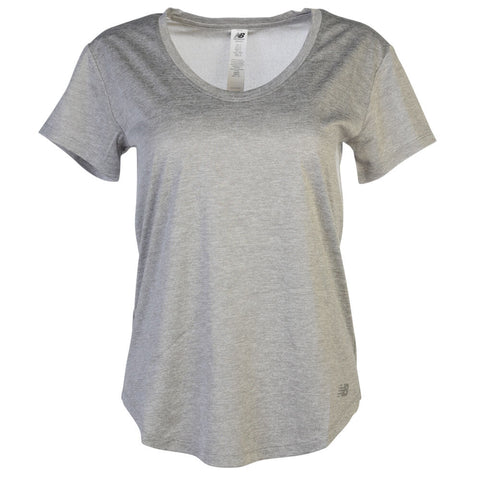 NEW BALANCE WOMEN'S HEATHERED PERF TOP ATH GREY
