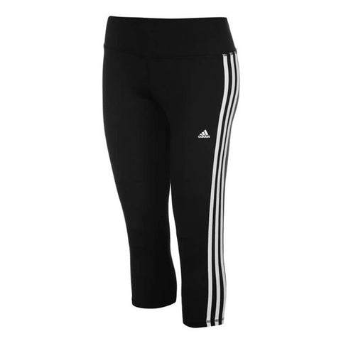 ADIDAS WOMEN'S D2M RR 3 STRIPE 3/4 TIGHT BLACK/WHITE