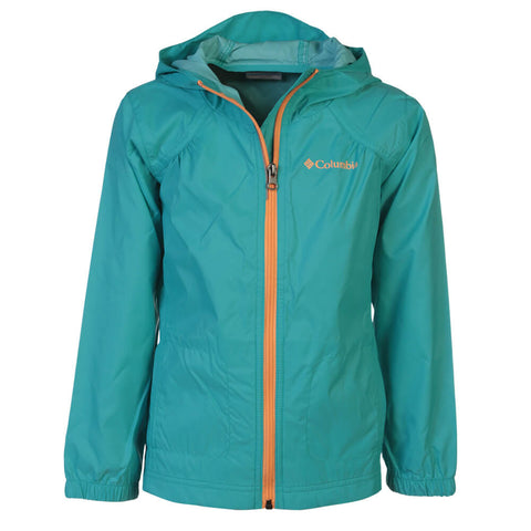 COLUMBIA GIRLS' SWITCHBACK RAIN JACKET GEYSER