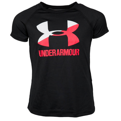 UNDER ARMOUR GIRLS SOLID BIG LOGO TOP BLACK