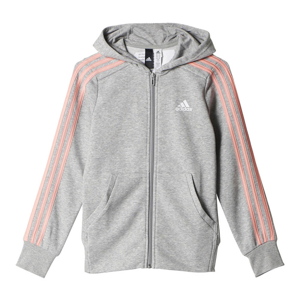 Adidas Girls 3 Stripe Full Zip Hoody Greypink National Sports