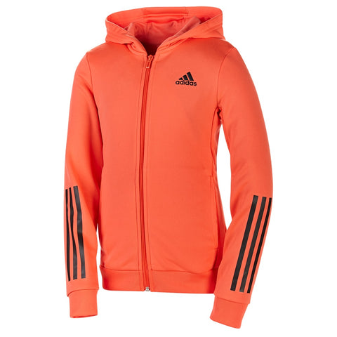 ADIDAS GIRLS TF FULL ZIP FLEECE HOODY CORAL