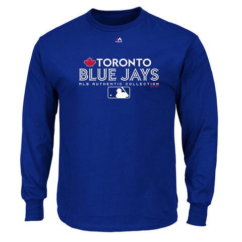 MAJESTIC MEN'S TORONTO BLUE JAYS AUTHENTIC TEAM DRIVE LONG SLEEVE TOP