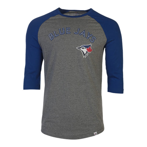 MAJESTIC MEN'S TORONTO BLUE JAYS THIS SEASON 3/4 SLEEVE TOP JAYS ASH/ROYAL