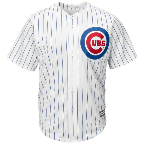 MAJESTIC MEN'S CHICAGO CUBS COOLBASE JERSEY WHITE/PINSTRIPE