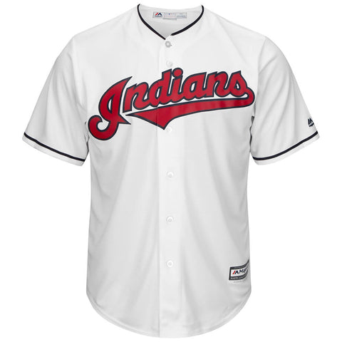 MAJESTIC MEN'S CLEVELAND INDIANS COOLBASE JERSEY WHITE