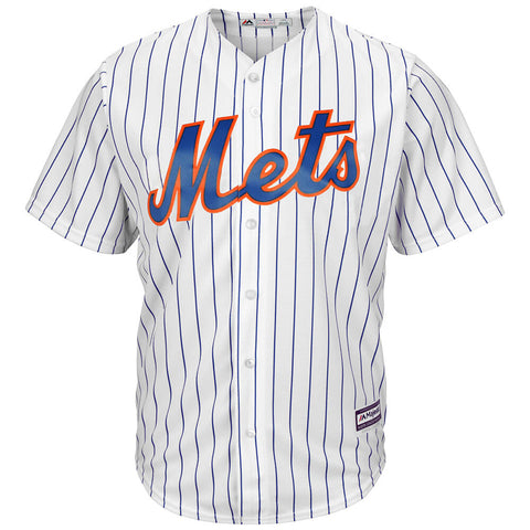 MAJESTIC MEN'S NEW YORK METS COOLBASE JERSEY WHITE/PINSTRIPE