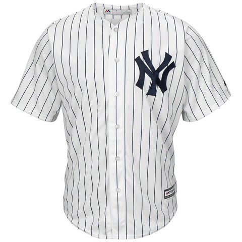 MAJESTIC MEN'S NEW YORK YANKEES COOLBASE JERSEY WHITE/PINSTRIPE