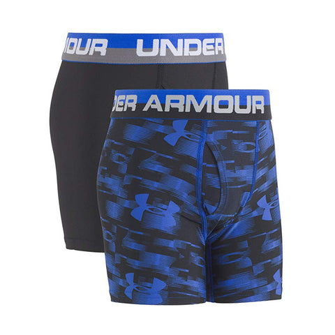 UNDER ARMOUR BOY'S YOUTH 2PACK BLUR BOXER BRIEFS ULTRA BLUE/BLACK