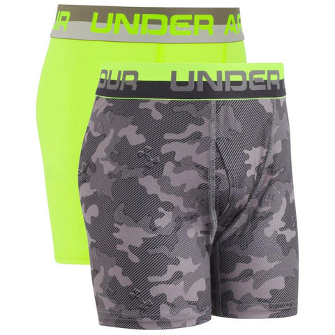 UNDER ARMOUR BOY'S 2 PACK CAMO BOXER BREIFS GRAPHITE/HI VISION YELLOW