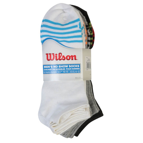 WILSON MEN'S 10 PAIR VALUE PACK NO SHOW 10-13  SOCKS TOE STRIPE MULTI