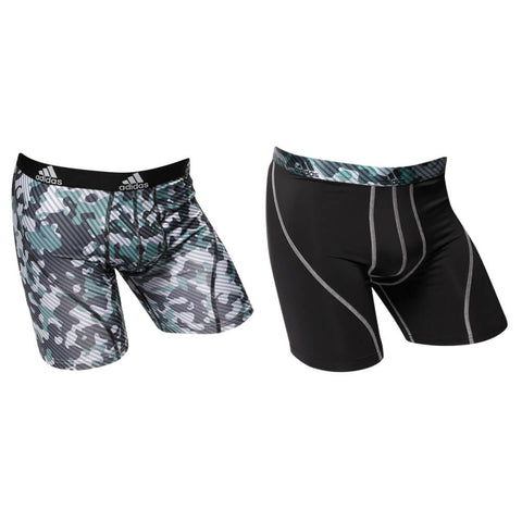 ADIDAS MEN'S CLIMALITE 2 PACK UNDERWEAR LIGHT ONIX CAMO/BLACK