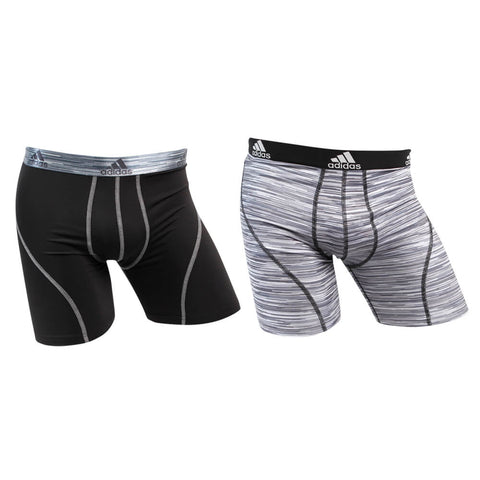 ADIDAS MEN'S CLIMALITE 2 PACK UNDERWEAR GREY LOOPER/BLACK