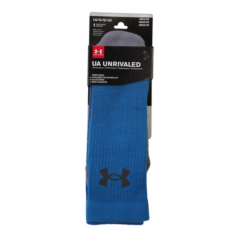 UNDER ARMOUR MEN'S UNRIVALED CREW LARGE BLUE/STEEL