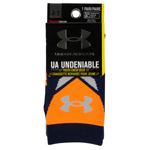 UNDER ARMOUR BOYS' UNDENIABLE CREW LTD SOCKS LARGE BLUE KNIGHT