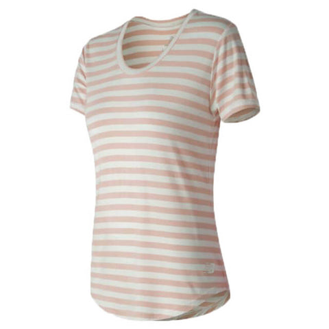 NEW BALANCE WOMEN'S STRIPE SCOOP NECK TOP SRG