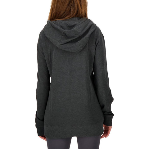 SIMPLY FIT ATHLETICS WOMEN'S TECH FLEECE FULL ZIP HOODY CHARCOAL MELANGE BACK