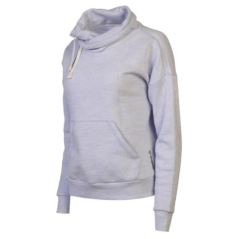 REEBOK WOMEN'S ELEMENTS MARBLE COWL NECK SWEATSHIRT LILAC GLOW