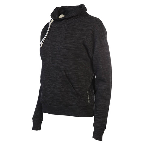 REEBOK WOMEN'S ELEMENTS MARBLE COWL NECK SWEATSHIRT BLACK