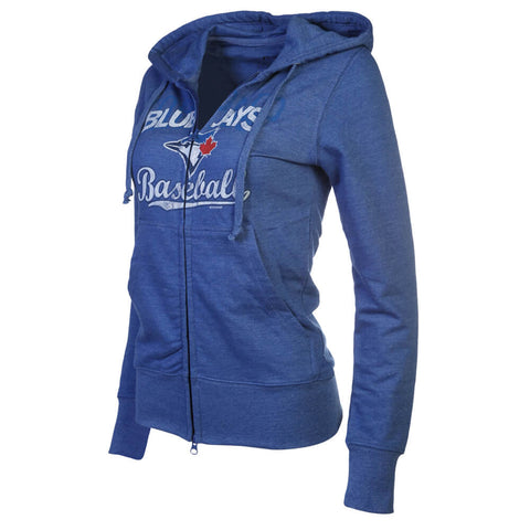 BULLETIN WOMEN'S TORONTO BLUE JAYS FULL COUNT FULL ZIP FLEECE HOODY ROYAL