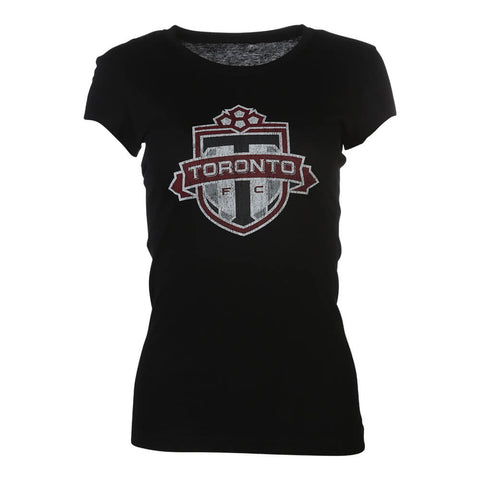 BULLETIN WOMEN'S TFC DISTRESSED LOGO TEE BLACK