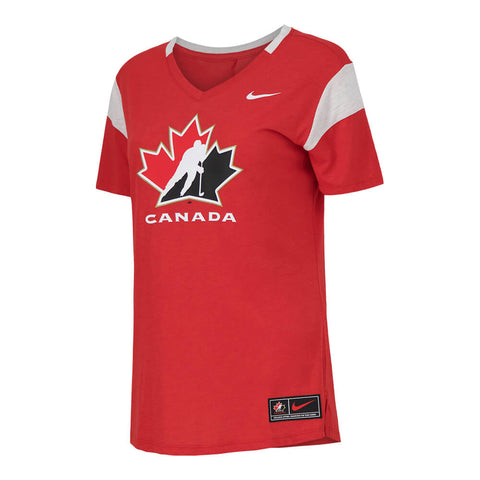 NIKE WOMEN'S TEAM CANADA SHORT SLEEVE FAN TOP RED