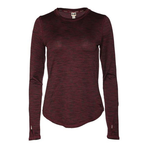 DIADORA WOMEN'S ESSENTIAL LONG SLEEVE LAYERING TOP EXTENDED SIZES WINE