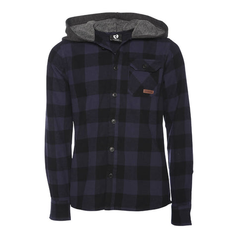 RIPZONE BOYS' PEAK HOODED FLANNEL TOP BLACK/ECLIPSE BUFFALO CHECK