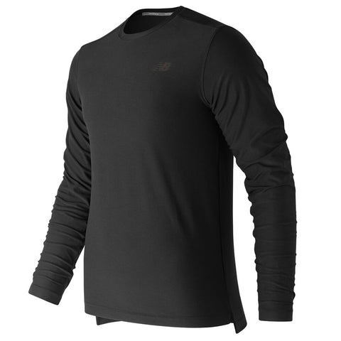 NEW BALANCE MEN'S LONG SLEEVE SPACEDYE TOP BLACK