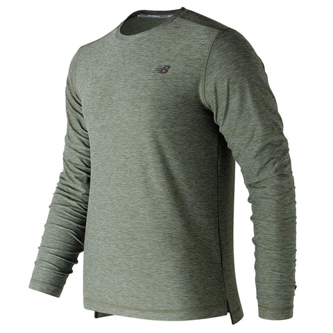 NEW BALANCE MEN'S LONG SLEEVE SPACEDYE TOP DARK COVERT HEATHER