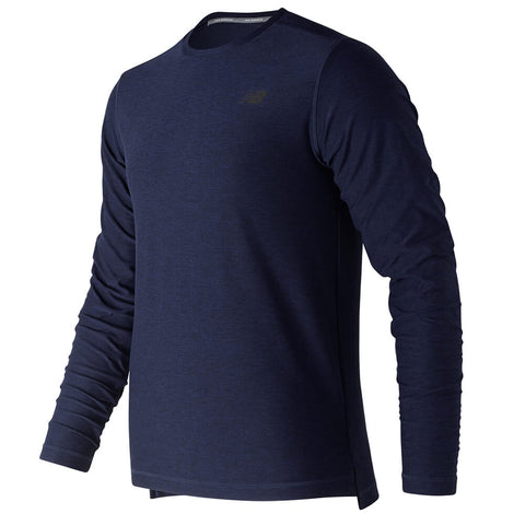 NEW BALANCE MEN'S LONG SLEEVE SPACEDYE TOP PIGMENT HEATHER